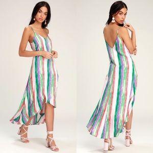 Lulu's Brushstroke of Luck Multicolor Stripe dress